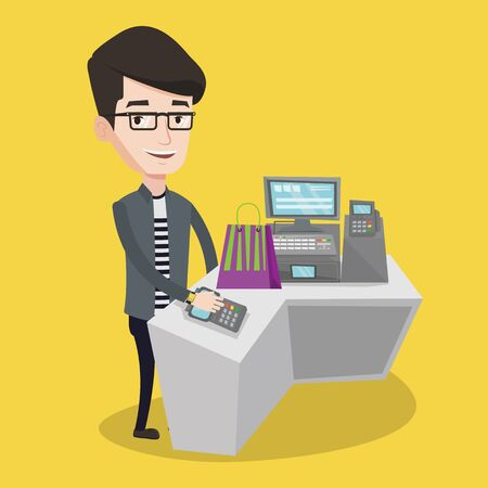 checkout counter: Young man paying wireless with his smart watch at the checkout counter. Male customer making payment for purchase with smart watch. Man doing shopping. Vector flat design illustration. Square layout.