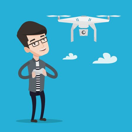 operating: Young man flying drone with remote control. Man operating a drone with remote control. Man controling a drone. Vector flat design illustration. Square layout.