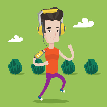 jogging park: Happy man running with earphones and armband for smartphone. Young man using smartphone to listen to music while running in the park. Vector flat design illustration. Square layout.