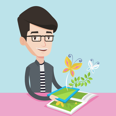 man holding book: Young happy man holding tablet computer above the book. Man looking at butterflies flying out from digital tablet. Concept of agmented reality. Vector flat design illustration. Square layout Illustration