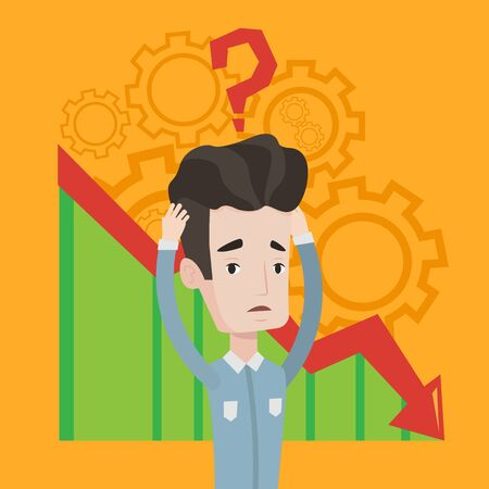Bankrupt clutching his head on background with cogwheels and chart going down. Man with big question mark above his head. Concept of business bankruptcy. Vector flat design illustration. Square layout Illustration