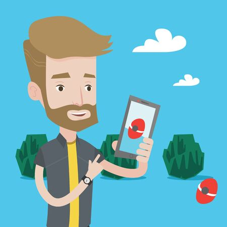 cellphone: Hipster man with the beard playing action game on smartphone. Young man playing with his mobile phone outdoor. Man using smartphone for playing games. Vector flat design illustration. Square layout.