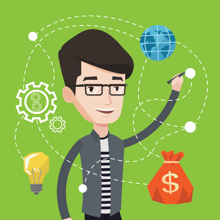 writing on screen: Young smiling man writing on a virtual screen. Cheerful businessman drawing a cloud computing diagram on a virtual screen. Cloud computing concept. Vector flat design illustration. Square layout.