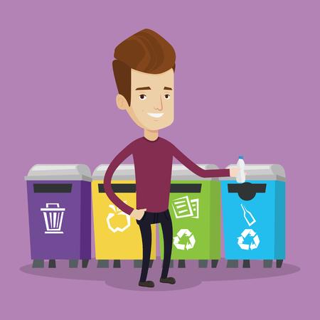 separacion de basura: Hombre que lanza lejos botella de plástico. El hombre de pie cerca de cuatro contenedores y tirar botellas de plástico en un contenedor apropiado. Concepto de la separación de basura. Vector de diseño plano ilustración. de planta cuadrada. Vectores
