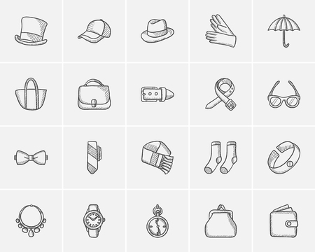 mobile accessories: Accessories sketch icon set for web, mobile and infographics. Hand drawn accessories icon set. Accessories vector icon set. Accessories icon set isolated on white background.