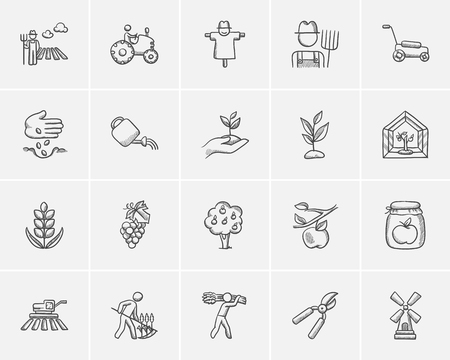 Agriculture sketch icon set for web, mobile and infographics. Hand drawn agriculture icon set. Agriculture vector icon set. Agriculture icon set isolated on white background. Stock Illustratie