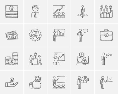 Business sketch icon set for web, mobile and infographics. Hand drawn business icon set. Business vector icon set. Business icon set isolated on white background. Ilustrace