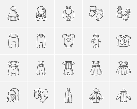Babykleidung Skizze Icon-Set für Web, Mobile und Infografiken. Hand gezeichnet Baby-Kleidung Icon-Set. Babykleidung Vektor-Icon-Set. Baby-Kleidung Icon-Set auf weißem Hintergrund.