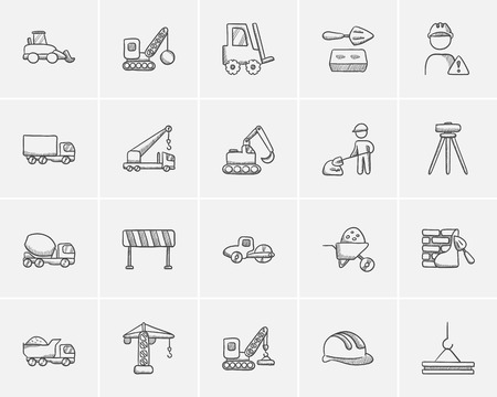 Construction sketch icon set for web, mobile and infographics. Hand drawn construction icon set. Construction vector icon set. Construction icon set isolated on white background. Illustration