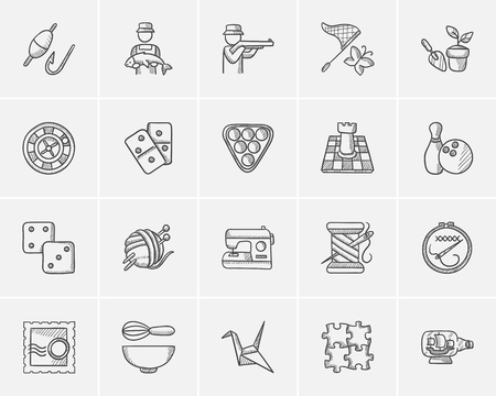 Hobby sketch icon set for web, mobile and infographics. Hand drawn hobby icon set. Hobby vector icon set. Hobby icon set isolated on white background. Illustration