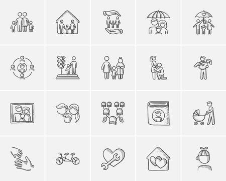 Famille esquisse icon set for web, mobile et infographies. Main icône familiale dessinée réglée. Famille vecteur icon set. Famille, icône, ensemble, isolé, sur fond blanc.