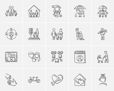 family isolated: Family sketch icon set for web, mobile and infographics. Hand drawn family icon set. Family vector icon set. Family icon set isolated on white background.