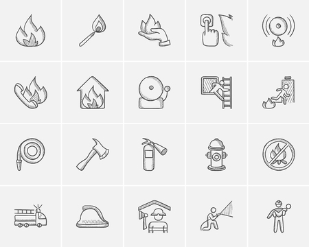accident fire truck: Fire sketch icon set for web, mobile and infographics. Hand drawn fire icon set. Fire vector icon set. Fire icon set isolated on white background.