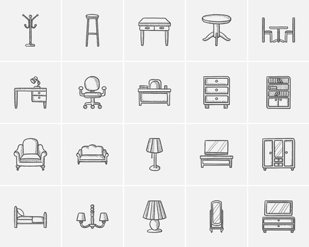 furniture design: Furniture sketch icon set for web, mobile and infographics. Hand drawn furniture icon set. Furniture vector icon set. Furniture icon set isolated on white background.