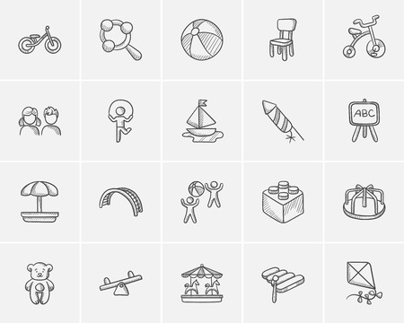 schoolyard: Kids sketch icon set for web, mobile and infographics. Hand drawn kids icon set. Kids vector icon set. Kids icon set isolated on white background. Illustration