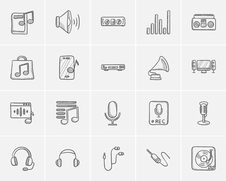 soundtrack: Media sketch icon set for web, mobile and infographics. Hand drawn media icon set. Media vector icon set. Media icon set isolated on white background.