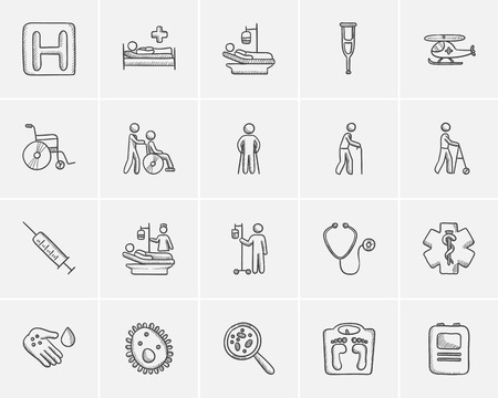 defibrillator: Medicine sketch icon set for web, mobile and infographics. Hand drawn medicine icon set. Medicine vector icon set. Medicine icon set isolated on white background. Illustration