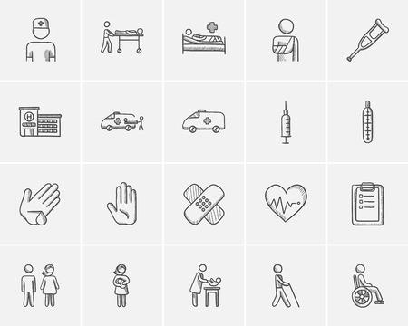 dibujo icono de la medicina para web, móvil y la infografía. Conjunto de la mano icono de la medicina dibujado. Conjunto de la medicina del vector del icono. icono de la medicina conjunto aislado sobre fondo blanco. Ilustración de vector