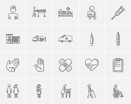 Medicine sketch icon set for web, mobile and infographics. Hand drawn medicine icon set. Medicine vector icon set. Medicine icon set isolated on white background. Vectores
