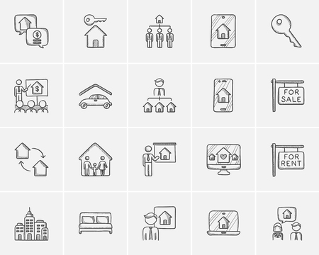 seller: Real estate sketch icon set for web, mobile and infographics. Hand drawn real estate icon set. Real estate vector icon set. Real estate icon set isolated on white background. Illustration