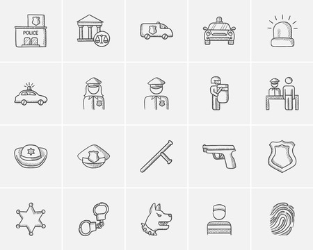 municipal court: Police sketch icon set for web, mobile and infographics. Hand drawn police icon set. Police vector icon set. Police icon set isolated on white background. Illustration