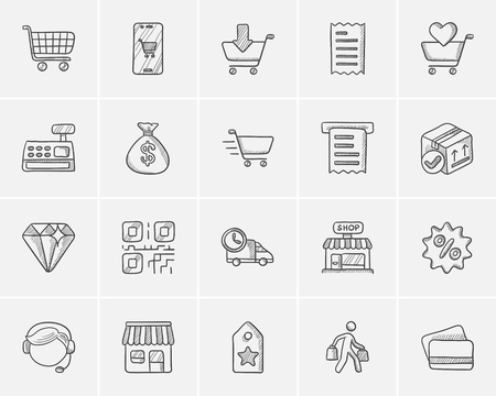 cash register building: Shopping sketch icon set for web, mobile and infographics. Hand drawn shopping icon set. Shopping vector icon set. Shopping icon set isolated on white background. Illustration