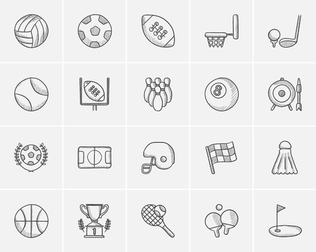 safeness: Sport sketch icon set for web, mobile and infographics. Hand drawn sport icon set. Sport vector icon set. Sport icon set isolated on white background.