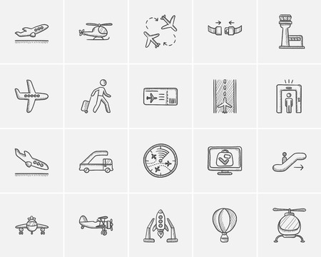 Air transport sketch icon set for web, mobile and infographics. Hand drawn air transport icon set. Air transport vector icon set. Air transport icon set isolated on white background.