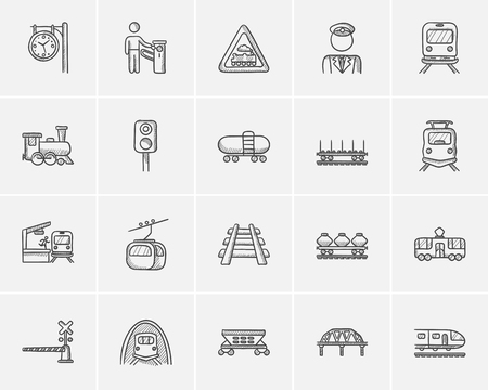 goods train: Transportation sketch icon set for web, mobile and infographics. Hand drawn transportation icon set. Transportation vector icon set. Transportation icon set isolated on white background.