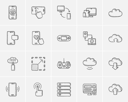 scalability: Technology sketch icon set for web, mobile and infographics. Hand drawn technology icon set. Technology vector icon set. Technology icon set isolated on white background.