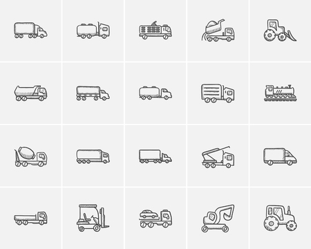 交通機関は、web、モバイルのためのアイコン セットとインフォ グラフィックをスケッチします。手描き交通機関アイコンを設定。輸送ベクトルのアイコンを設定します。交通機関のアイコンは、分離の白い背景を設定します。