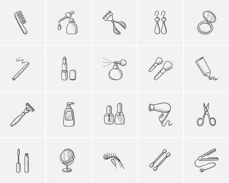 beauty icon: Beauty sketch icon set for web, mobile and infographics. Hand drawn beauty icon set. Beauty vector icon set. Beauty icon set isolated on white background.