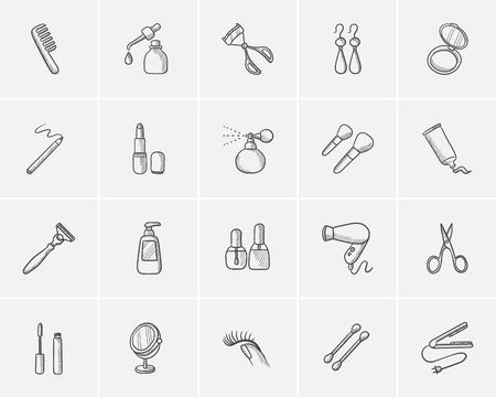 Schetspictogram voor web, mobiel en infographics. Hand getekende schoonheid pictogram set. Schoonheid vector icon set. Beauty icon set geïsoleerd op een witte achtergrond.