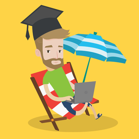 vacation with laptop: A hipster graduate lying in chaise long. Graduate in graduation cap working on laptop. Graduate studying on a beach. Concept of online education. Vector flat design illustration. Square layout. Illustration