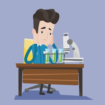 Student carrying out experiment. Student working at laboratory class. Student clutching his head at chemistry class because of failed experiment. Vector flat design illustration. Square layout. Иллюстрация