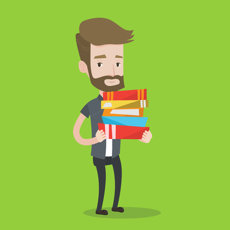 schoolbook: A hipster man with the beard holding a pile of educational books in hands. Smiling student carrying huge stack of books. Concept of education. Vector flat design illustration. Square layout.