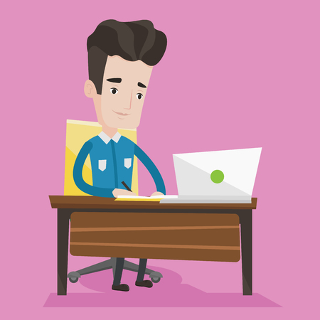 using laptop: Student sitting at the table with laptop. Student using laptop for education. Man working on laptop and writing notes. Concept of educational technology. Vector flat design illustration. Square layout Illustration
