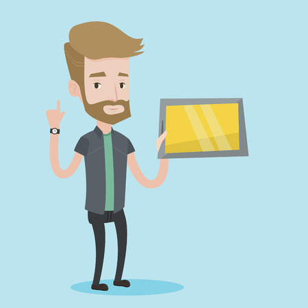 forefinger: Student using a tablet computer. A hipster student with the beard holding tablet computer and pointing forefinger up. Concept of educational technology. Vector flat design illustration. Square layout. Illustration