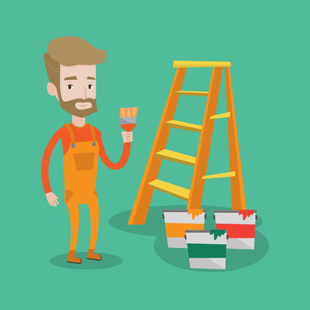 decorator: Hipster painter with the beard holding a paintbrush. Man with paintbrush in hand standing near step-ladder and paint cans. Concept of house renovation. Vector flat design illustration. Square layout.