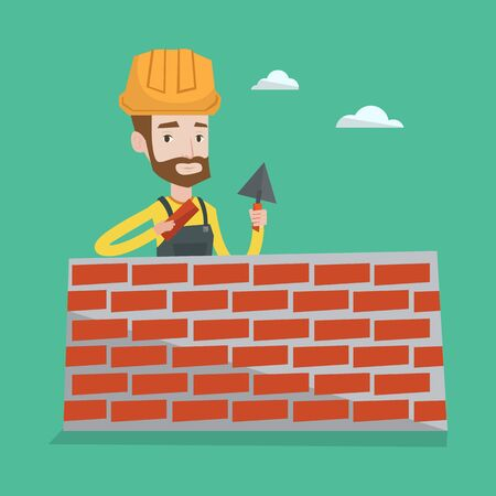 Young bricklayer in uniform and hard hat. A hipster bicklayer with the beard working with a spatula and a brick in hands on construction site. Vector flat design illustration. Square layout.