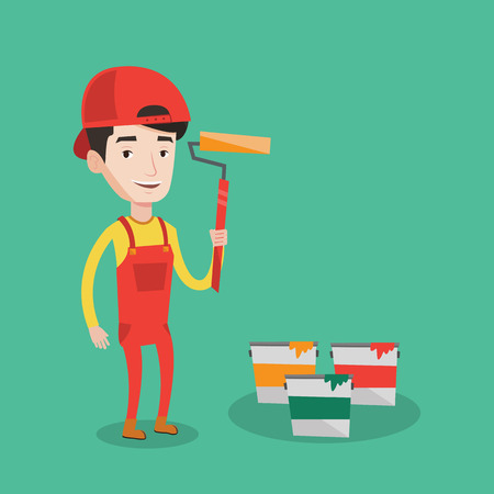 paint cans: Joyful painter in uniform holding a paint roller in hands. Young cheerful painter at work. Smiling painter standing near paint cans. Vector flat design illustration. Square layout. Illustration