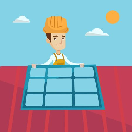 checking: Young smiling man installing solar panels on roof. Technician in inuform and hard hat checking solar panels on roof. Eengineer adjusting solar panels. Vector flat design illustration. Square layout.