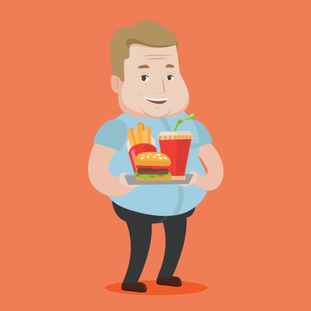 A fat man holding tray with soda, french fries and hamburger. Plump smiling man having a lunch in a fast food restaurant. Happy man with fast food. Vector flat design illustration. Square layout. Illustration
