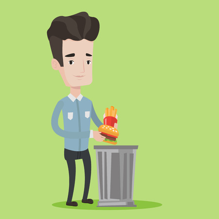 rejecting: Man putting junk food into a trash bin. Man refusing to eat junk food. Man rejecting fast food. Man throwing hamburger and french fries. Diet concept. Vector flat design illustration. Square layout.