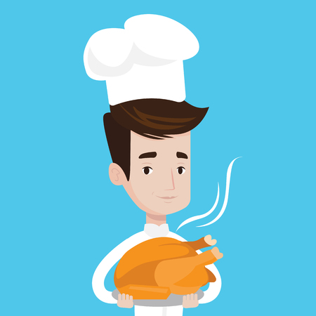 Chief cooker holding roasted chicken in the kitchen. Chief cooker with whole baked chicken. Chief cooker with fried chicken. Vector flat design illustration. Square layout.