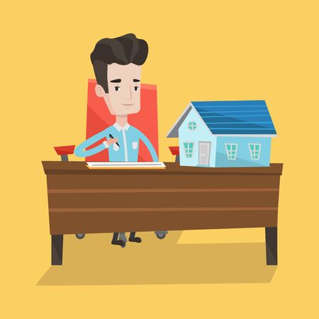 signing: Real estate agent signing contract. Real estate agent sitting at workplace in office with house model on the table. Man signing home purchase contract. Vector flat design illustration. Square layout.