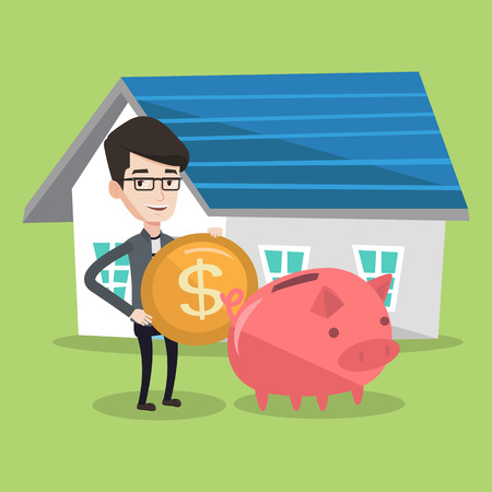 lease: Young happy man putting dollar coin in piggy bank. Cheerful man standing on a background of house. Concept of saving and investing money in real estate. Vector flat design illustration. Square layout.