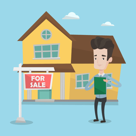 signing: Happy real estate agent signing home purchase contract. Real estate agent standing in front of the house with placard for sale. Illustration