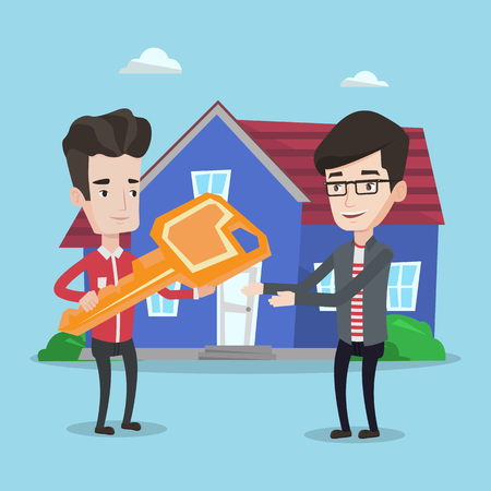 Friendly real estate agent giving key to a new owner of a house. Real estate agent passing house keys to cheerful client. Happy man buying a new house. Vector flat design illustration. Square layout.