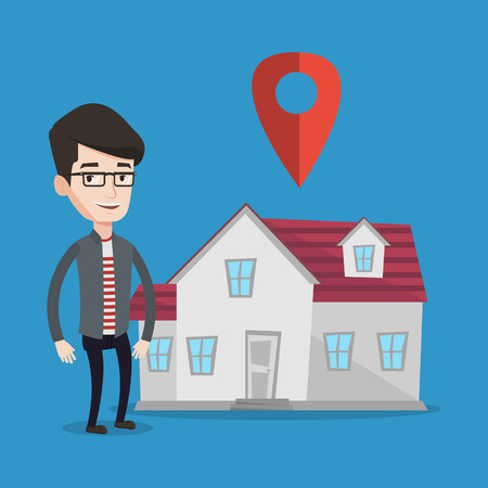 estate agent: Young smiling real estate agent standing on a background of map pointer above the house. Happy male real estate agent offering house. Vector flat design illustration. Square layout.